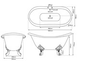 Image 3 - Banburgh Large Double High Slipper Cast Iron Roll Top Bath