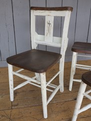 Image 4 - Farrow & Ball Distressed Finish Painted Church Chairs