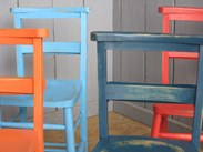 Image 4 - Set of 6 Hand Finished Painted Distressed Church Chairs