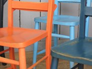 Image 6 - Set of 6 Hand Finished Painted Distressed Church Chairs