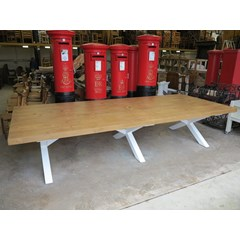 Large Thick Wooden Plank Top Table