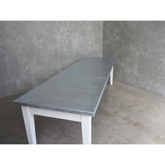 Matt Zinc Kitchen Table With Painted Base