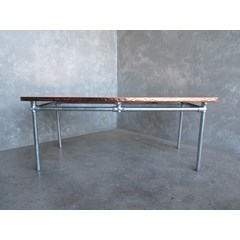 Natural Copper Finish Table With Metal Legs
