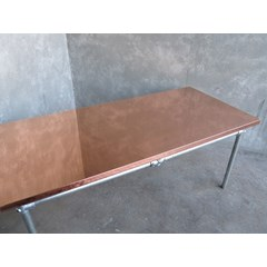 Natural Finish Copper Table With Metal Legs
