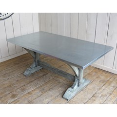 Natural Finish Zinc Table With Refectory Style Base