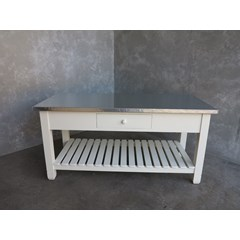 Natural Finish Zinc Top Unit With Shelf
