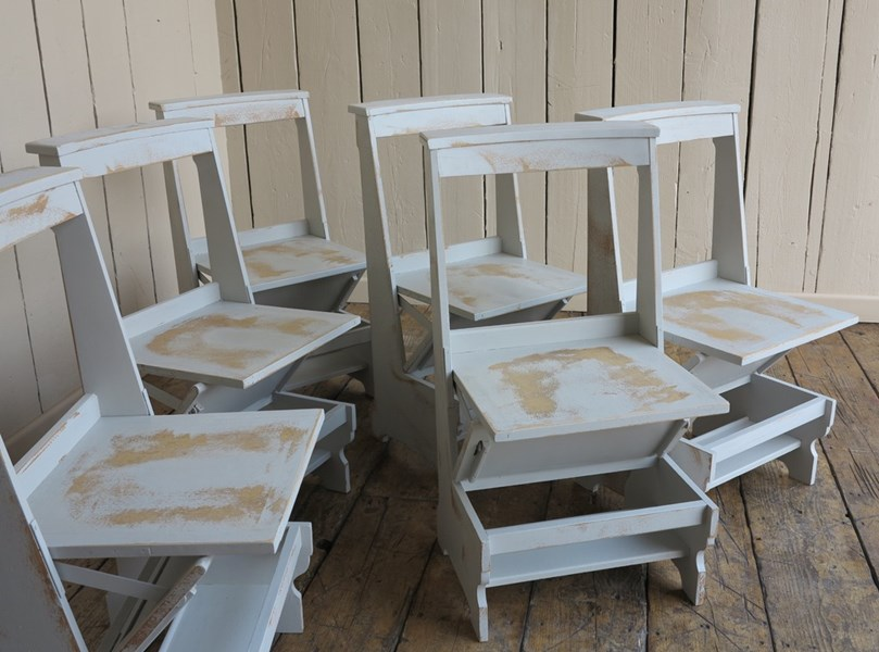 Set Of 6 Solid Oak Arts Amp Crafts Distressed Church Chair