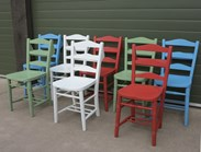 Old Church Chairs Hand Painted at UKAA