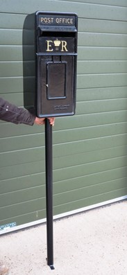 Painted Black Post Office Letter Box & Pole
