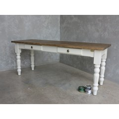 Plank Top Dining Table With Drawers