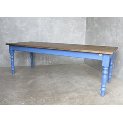 Plank Top Table With Painted Wooden Legs