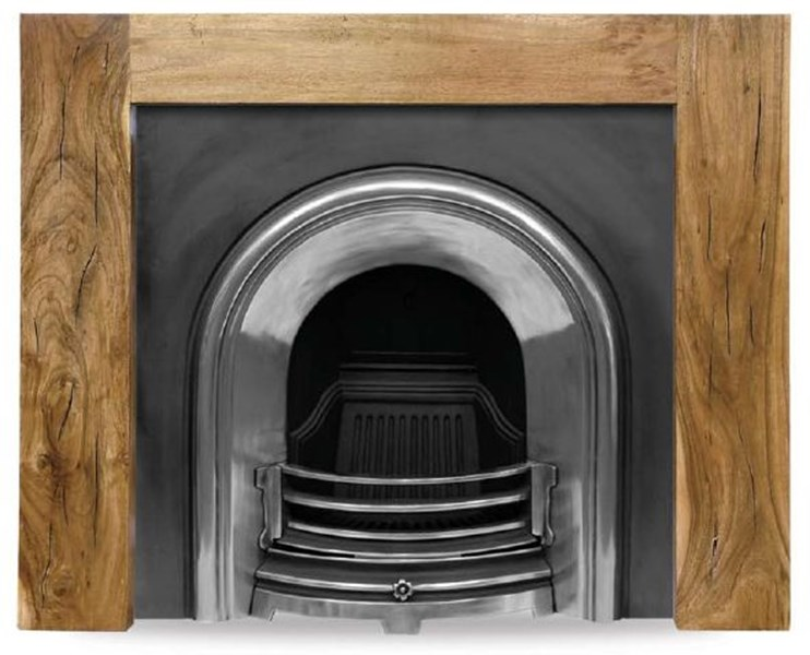 Celtic Arch Half Polish Cast Iron Fire Insert And Surround