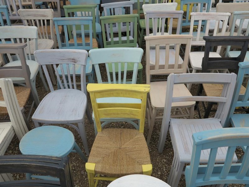 Primary Image - Hand Painted Church Chairs and Stools
