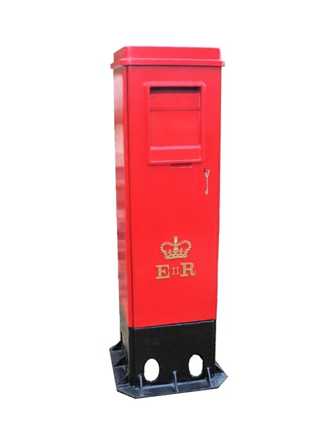 Rare Cast Iron Square ER II Pillar Box with Two Doors
