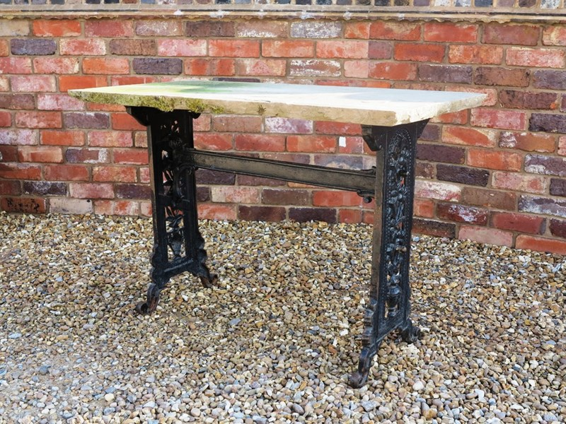 Reclaimed Antique Cast Iron Garden Table With Stone Top