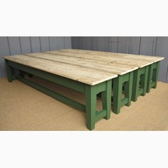 Reclaimed Pine Floorboard Top Benches