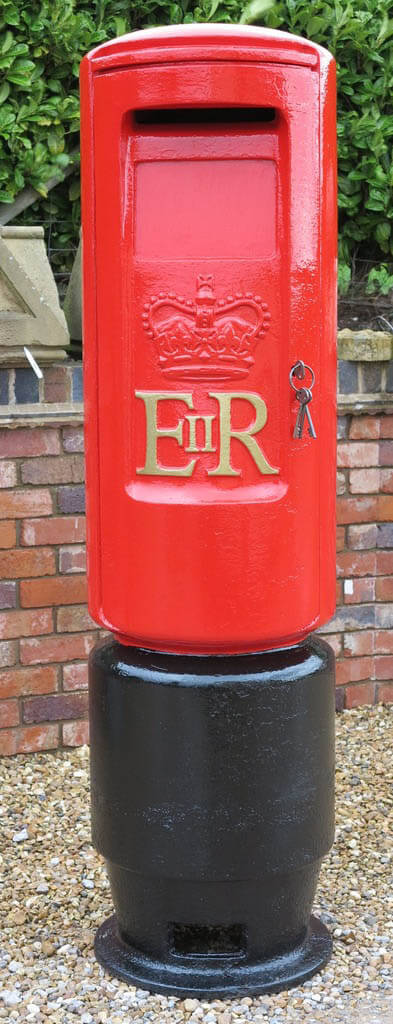 Original antique bullet shape pillar box fully refurbished in our workshops