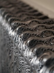 Rococo 810mm Tall Cast Iron Radiators In Hand Burnished Finish