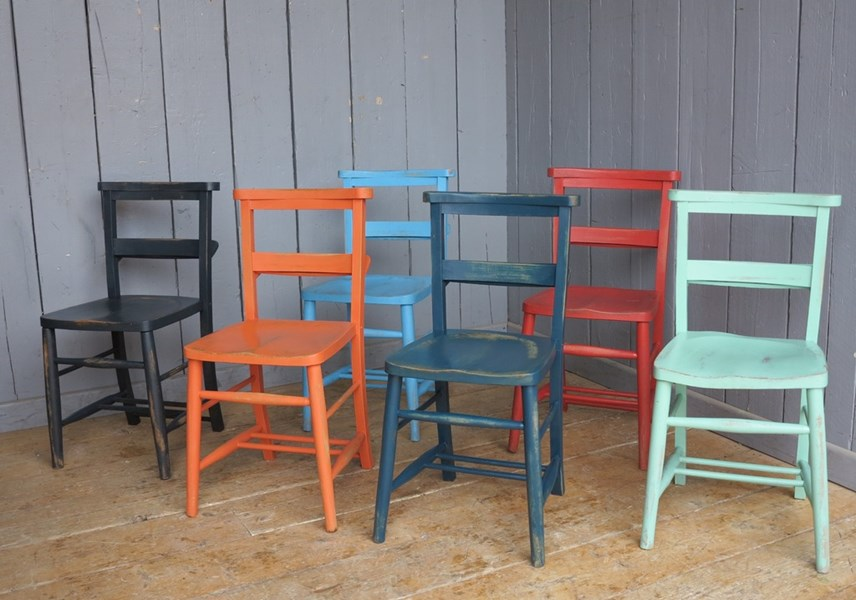 Set of 6 Hand Finished Painted Distressed Farrow & Ball Church Chairs