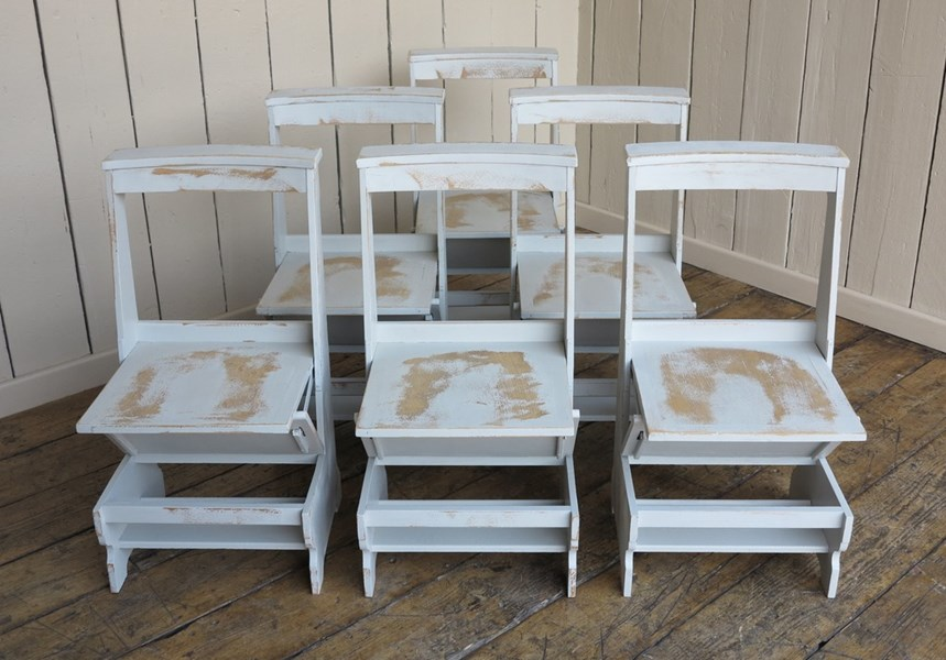 Set of 6 Solid Oak Arts & Crafts Distressed Church Chairs