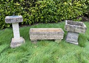 Set Of Reclaimed Vintage Garden Sundials And Planters