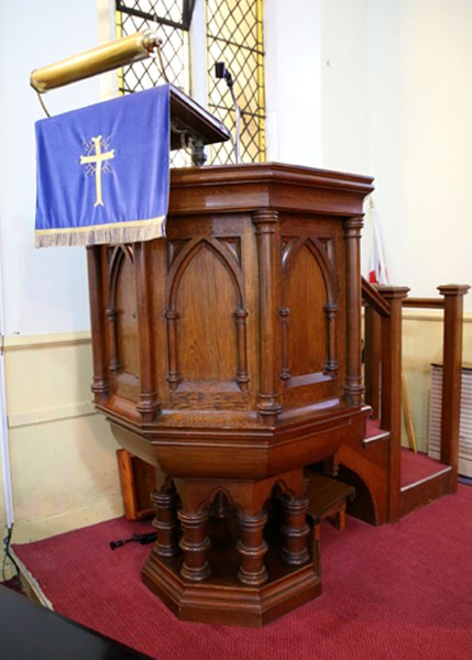 Original Antique Church Pulpit With Stairs Made From Oak