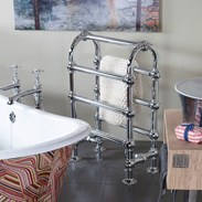 Showing the Chrome Floor Mounted Dual Fuel Towel Rail - Ref:TOW020
