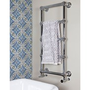 Showing the Chrome Wall Mounted Dual Fuel Towel Rail Ref:TOWO32