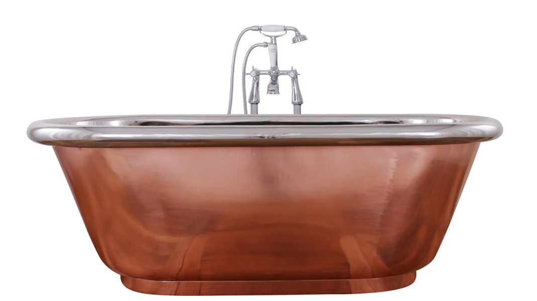 The Contempo Double Slipper Copper Bath & Nickel Interior