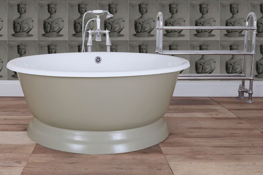 The Drum Cast Iron Bath from UKAA shown here in Farrow and Ball French Gray
