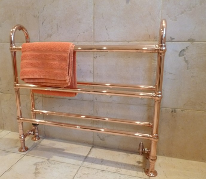 UKAA supply traditional style heated bathroom towel rails in a variety of styles and finishes such as chrome, nickel or copper