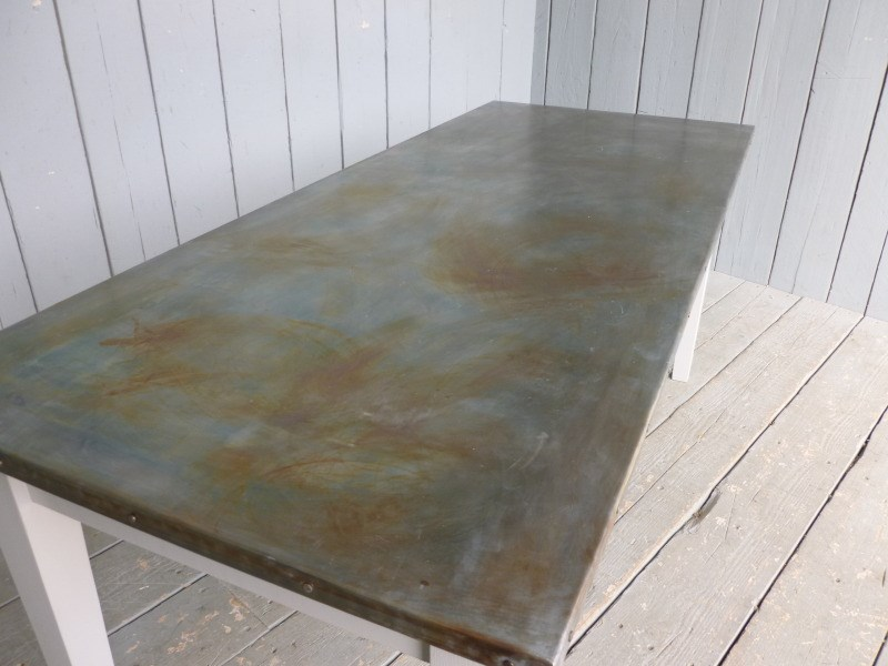 Antiqued Zinc Table Tops And Worktops