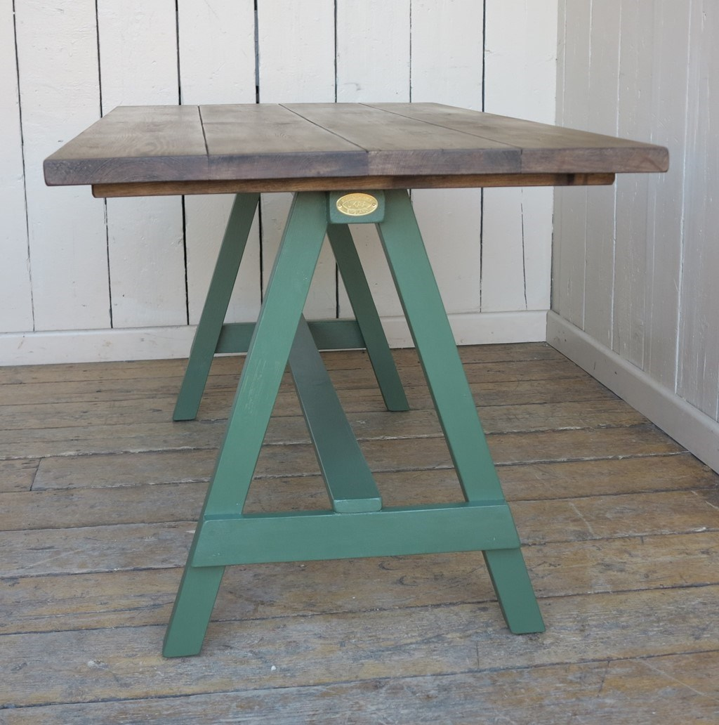 Wooden A Frame Style Table With Chunky Wooden Top. Full resolution  img, nominally Width 1024 Height 1032 pixels, img with #4D706A.