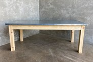 Wooden Table Base With Metal Top