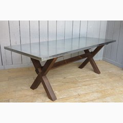 X Frame Natural Zinc Table