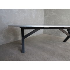 X Frame Table With Zinc Top