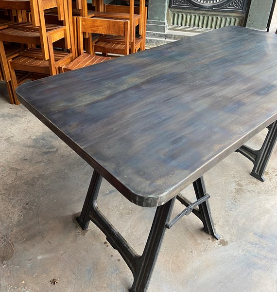 bespoke antique zinc table top with rounded corners