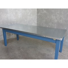 Zinc Top Kitchen Table With Painted Tapered Legs