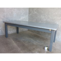 Zinc Top Table With Square Legs