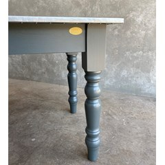 Zinc Top Table With Turned Legs