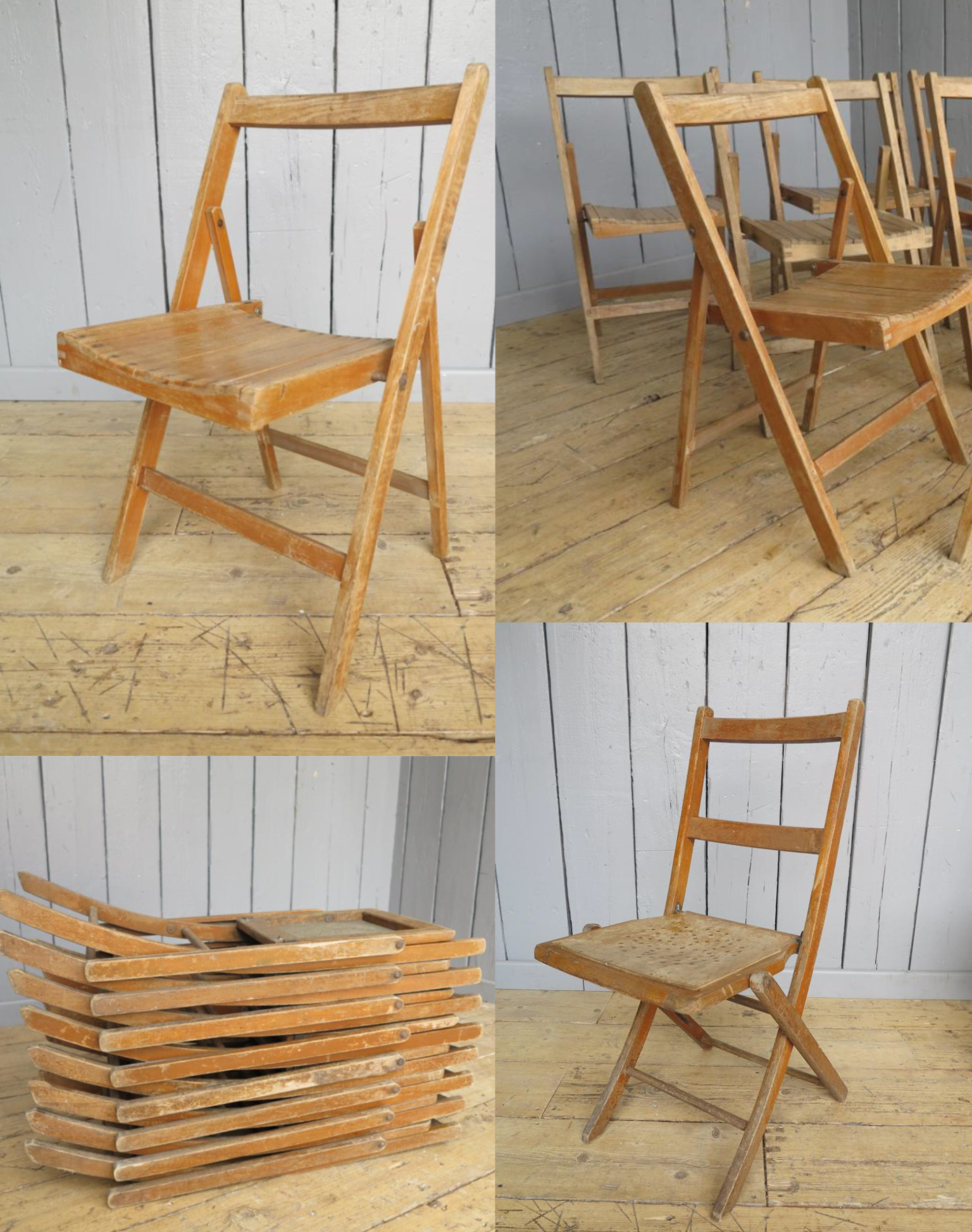 Antique Folding Church Chairs Montage
