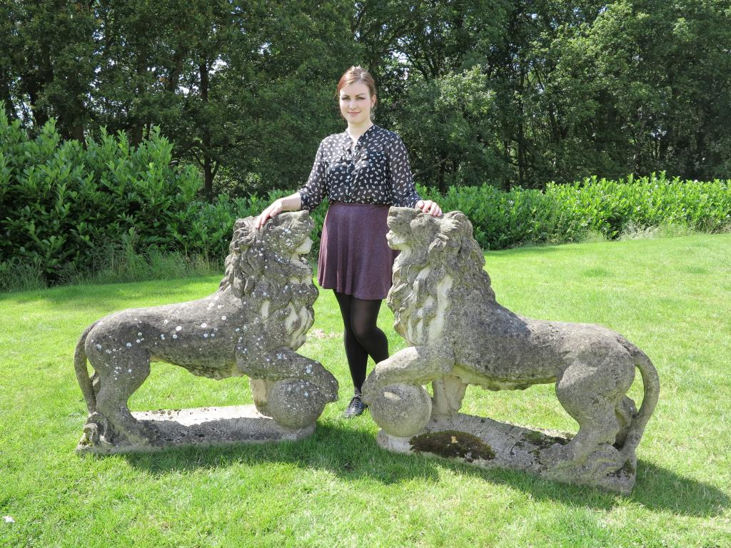 lion statue stone old vintage garden statuary antique animal pair