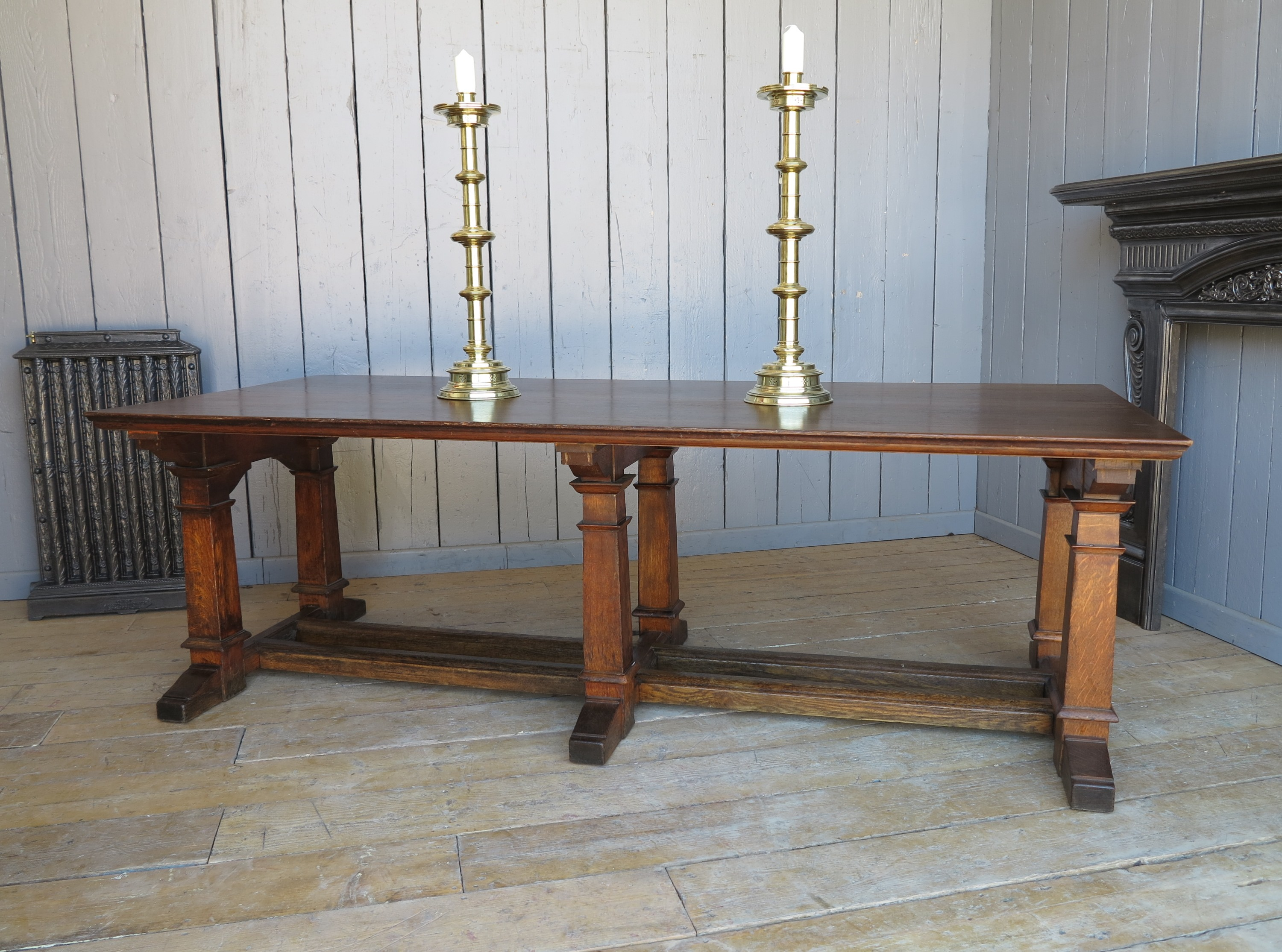 table oak solid refectory arts and craft 8ft table kitchen table