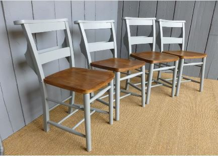 Church Chapel Chairs Wood Painted Bespoke Reclaimed Character Pub Restaurant Home Kitchen Dining Room Interior