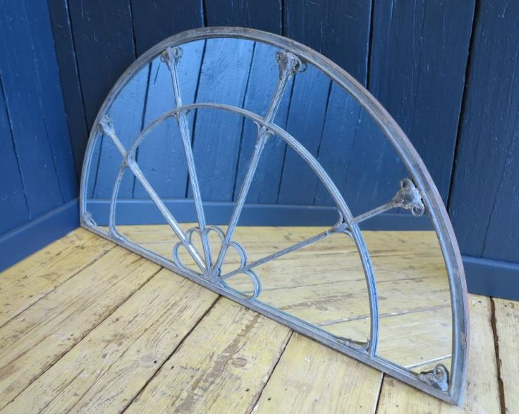 mirror glass window antique georgian rare ramshead cast iron lead