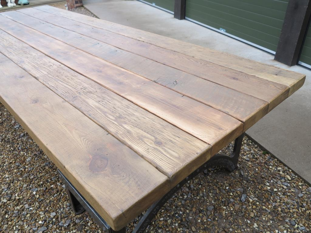 Scafold Boards Rustic Farmhouse Table Character Thick Chunky Top Wood Pine Reclaimed Planks