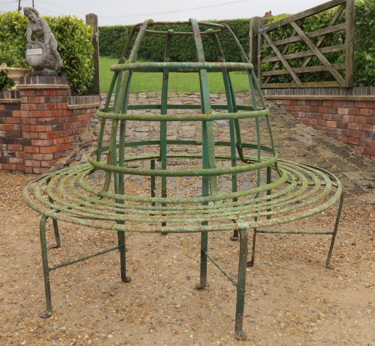 garden bench seat seating wrought iron metal tree rare victorian unusual reclaimed antique