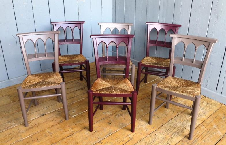 bespoke painted solid distressed antique reclaimed church school rush seated wood pine beach elm chairs seating dining