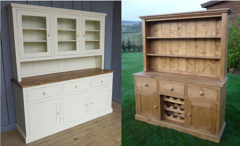 bespoke reclaimed pine kitchen dresser dressers antique painted waxed storage cupboard shelve wine rack
