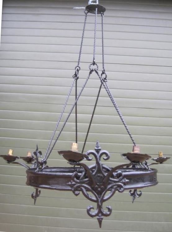 interior light lighting gothic chandelier black cast iron unusual antique reclaimed